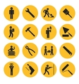 Yellow Circle Construction and Building Icons vector image vector image
