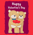 you and me poster with bears lovers holding hearts vector image vector image