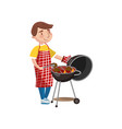 young man preparing steak on the barbecue grill vector image vector image