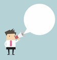 Businessman holding megaphone with speech bubble f vector image