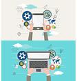 Flat design of modern creative office workspace vector image