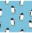 Penguins on Ice-skates Seamless Pattern vector image