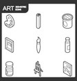 art outline isometric icons set vector image vector image