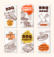 barbecue meat party poster or flyer set vector image