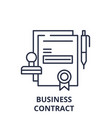 business contract line icon concept business vector image vector image