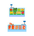 butcher and vegetable departments isolated vector image vector image