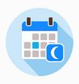 calendar with moon icon vector image