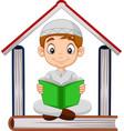 cartoon muslim boy reading a book with pile boo vector image vector image