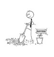 cartoon of businessman digging a hole for plant vector image vector image