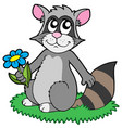 cartoon racoon with flower vector image