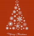 Christmas tree from white snowflakes on red vector image vector image