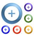 circle plus icons set vector image