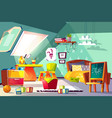 comfortable kids room on mansard cartoon vector image vector image