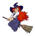 cute young halloween witch flying on broom vector image vector image
