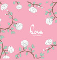 delicate flowers on a pink white background vector image vector image