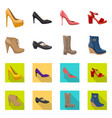 design of footwear and woman sign set of vector image vector image