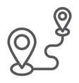 destination line icon gps and location map pin vector image vector image