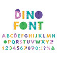 dino hand drawn alphabet cartoon cute abc letters vector image