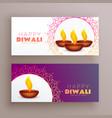 elegant diwali festival banners greeting card set vector image vector image