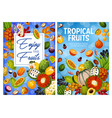 exotic fruits and tropical berries harvest vector image vector image