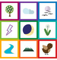 flat icon bio set of gull peak bird and other vector image vector image