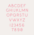 font set letters and numbers linear thin vector image