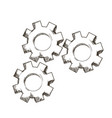 gear mechanical collaboration team engraving vector image