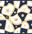 golden chains and seashell check seamless pattern vector image