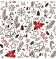 hand drawn winter seamless pattern sketch vector image