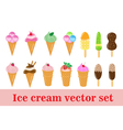 Ice-cream set ice cream cone in a cup on a stick vector image vector image