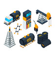 industry 3d isometric of oil and gas vector image vector image