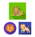 isolated object of animal and jungle icon set o vector image