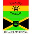 jamaican and rastafarian flags with a hemp leaf vector image