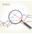magnifying glass over charts - data statisics vector image