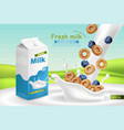 milk and cereals realistic with splash vector image vector image