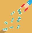 Money dollar Magnet in businessman hand concept