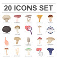 poisonous and edible mushroom cartoon icons in set vector image vector image