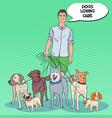 pop art man dog walker pets care vector image