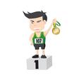 Runner Athlete Showing Golden Medal Winner vector image