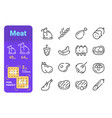 set meat simple lines icons hot meal vector image vector image