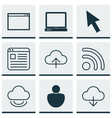 set of 9 web icons includes wifi save data vector image vector image