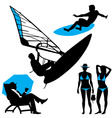Several persons are on the beach in a summertime vector image vector image
