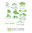 stay home corona virus prevention home quarantin vector image vector image