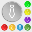 Tie icon sign Symbol on eight flat buttons vector image vector image