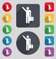 tourist icon sign A set of 12 colored buttons and vector image vector image