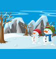 two snowmen on the snow field vector image