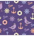 Vintage pattern with seagulls anchors and