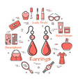 woman accessories concept with red earrings icon vector image vector image