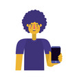 young man with afro and smartphone vector image vector image