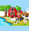 farm scene with farmer and animals by the river vector image